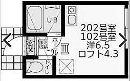 ユナイト横浜ニッコリオ[102号室]の間取り