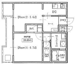 メゾンドール永塚[3階]の間取り