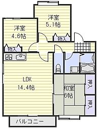 ホワイトプレインズハウス B棟[2階]の間取り