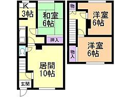 木村マンション 1階3LDKの間取り
