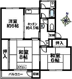 鶴甲コーポ12号館[408号室]の間取り
