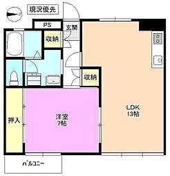 長野県松本市中央1丁目の賃貸マンションの間取り