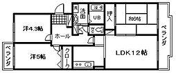 パティオ岸和田[202号室]の間取り