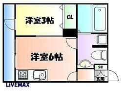 JR仙山線 国見駅 徒歩2分の賃貸アパート 2階1Kの間取り