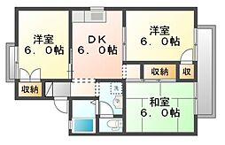 岡山県岡山市北区奥田南町の賃貸アパートの間取り
