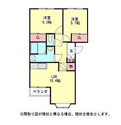 愛知県一宮市木曽川町里小牧字下町場の賃貸アパートの間取り