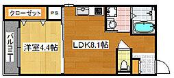 大阪府大阪市住之江区安立3丁目の賃貸アパートの間取り