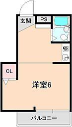 大阪府豊中市末広町2丁目の賃貸マンションの間取り