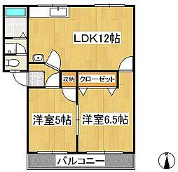 福岡県久留米市長門石5丁目の賃貸アパートの間取り