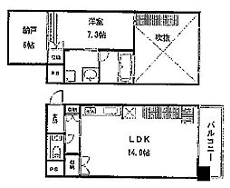 KDXレジデンス本町橋[1411号室]の間取り