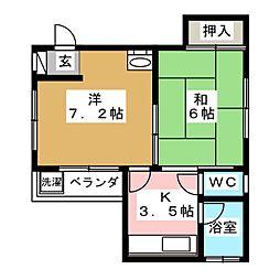渡辺ビル 4階2Kの間取り