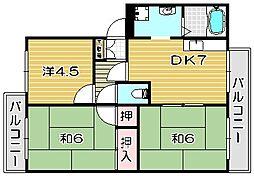 大阪府高槻市氷室町4丁目の賃貸アパートの間取り