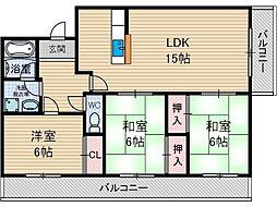 パークヒル尾崎[1階]の間取り