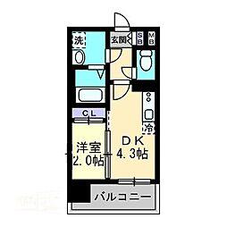 MODERN PALAZZO 大濠スクエア 3階1DKの間取り