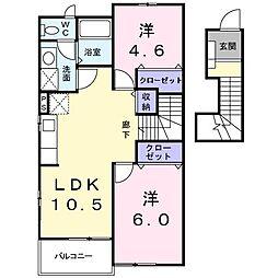 ウエストハイツ藤 2階2LDKの間取り