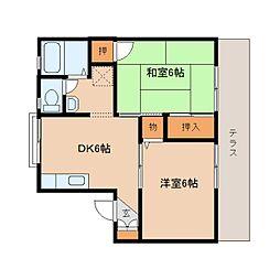 奈良県奈良市大安寺4丁目の賃貸アパートの間取り