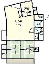 バンベールハウス A棟[302号室]の間取り