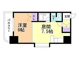 メープル円山 7階1DKの間取り