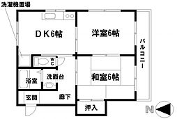 愛知県名古屋市昭和区安田通1丁目の賃貸アパートの間取り