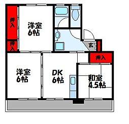 福岡県飯塚市伊川の賃貸マンションの間取り