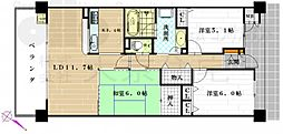 大阪府八尾市安中町3丁目の賃貸マンションの間取り