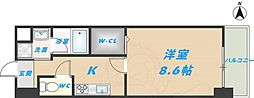 スタシオン俊徳道 2階1Kの間取り