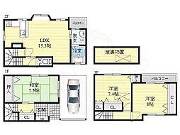 JR片町線(学研都市線) 鴫野駅 徒歩10分の賃貸一戸建て 1階3LDKの間取り