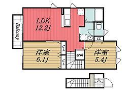JR成田線 久住駅 徒歩3分の賃貸アパート 2階2LDKの間取り