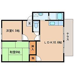 奈良県大和郡山市九条平野町の賃貸アパートの間取り