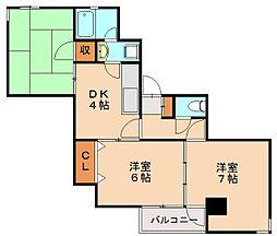 オリンピアマンション高宮[4階]の間取り