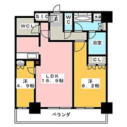 ヴィークタワー名古屋東別院[14階]の間取り