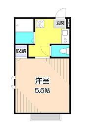 B'sハウス 2階ワンルームの間取り