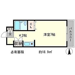 おおきに百万遍サニーアパートメント[7階]の間取り