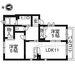 京都地下鉄東西線 東野駅 徒歩5分の賃貸アパート 1階2LDKの間取り