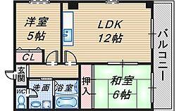 コート北桜塚[201号室]の間取り