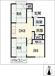 ファミール西前田 A[2階]の間取り