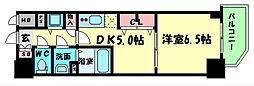 Osaka Metro中央線 阿波座駅 徒歩6分の賃貸マンション 2階1DKの間取り