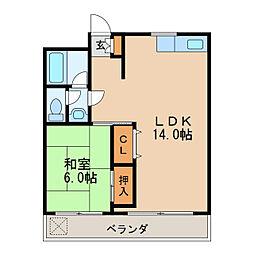 第16オオタビル 7階1LDKの間取り