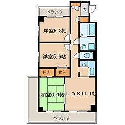 シティファミールチクサミズホビル[3階]の間取り