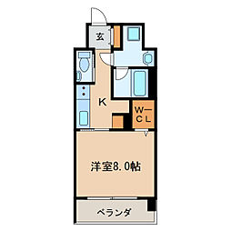 メルカーサ泉 5階1Kの間取り
