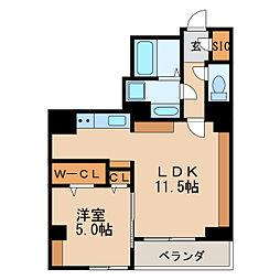 淳彩庵 5階1LDKの間取り