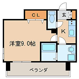 プレサンス錦通 THE 葵 13階1Kの間取り
