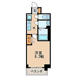 プレサンス丸の内アデル 3階1Kの間取り