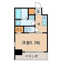 エステムコート名古屋泉プラチナムゲート 2階1Kの間取り