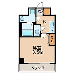レジデンシア泉I 5階1Kの間取り