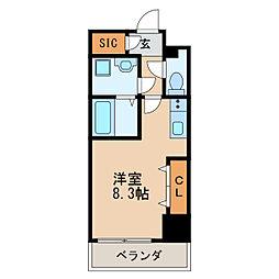 レジデンシア泉II 8階ワンルームの間取り