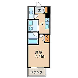 ヴィークブライト名古屋新栄 10階1Kの間取り