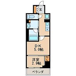 パークアクシス新栄 2階1DKの間取り