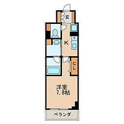 パークアクシス新栄 9階1Kの間取り