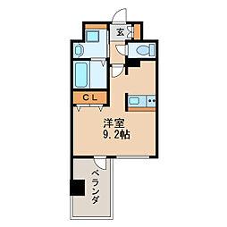 アドバンス名古屋モクシー 7階ワンルームの間取り